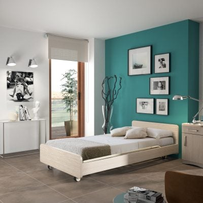 Bedroom with Tenero Twin Profiling Bed in Clear Oak Finish