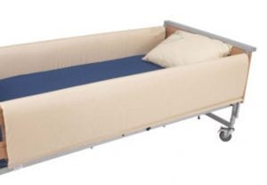 Bed bumpers cover siderails on hospital-style beds to prevent injury